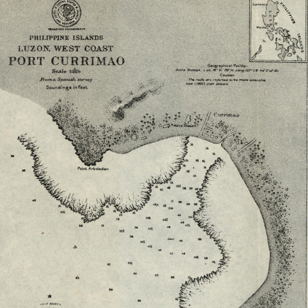 Philippine Islands Luzon Port Currimao 1902 detailed nautical chart map