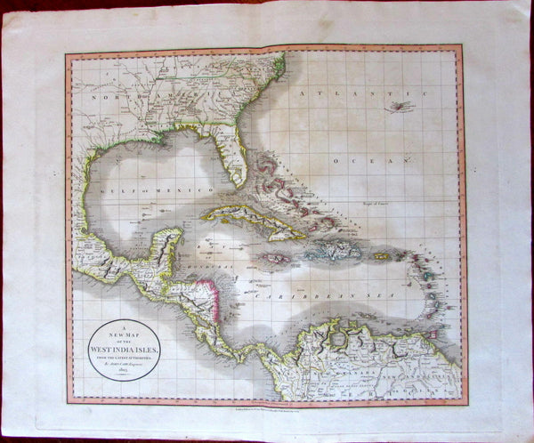 West Indies Caribbean Florida Georgia U.S. 1803 John Cary lovely large map