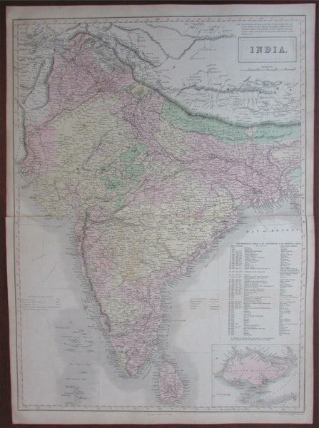India British Empire territories c.1850 Singapore island inset Hall large map
