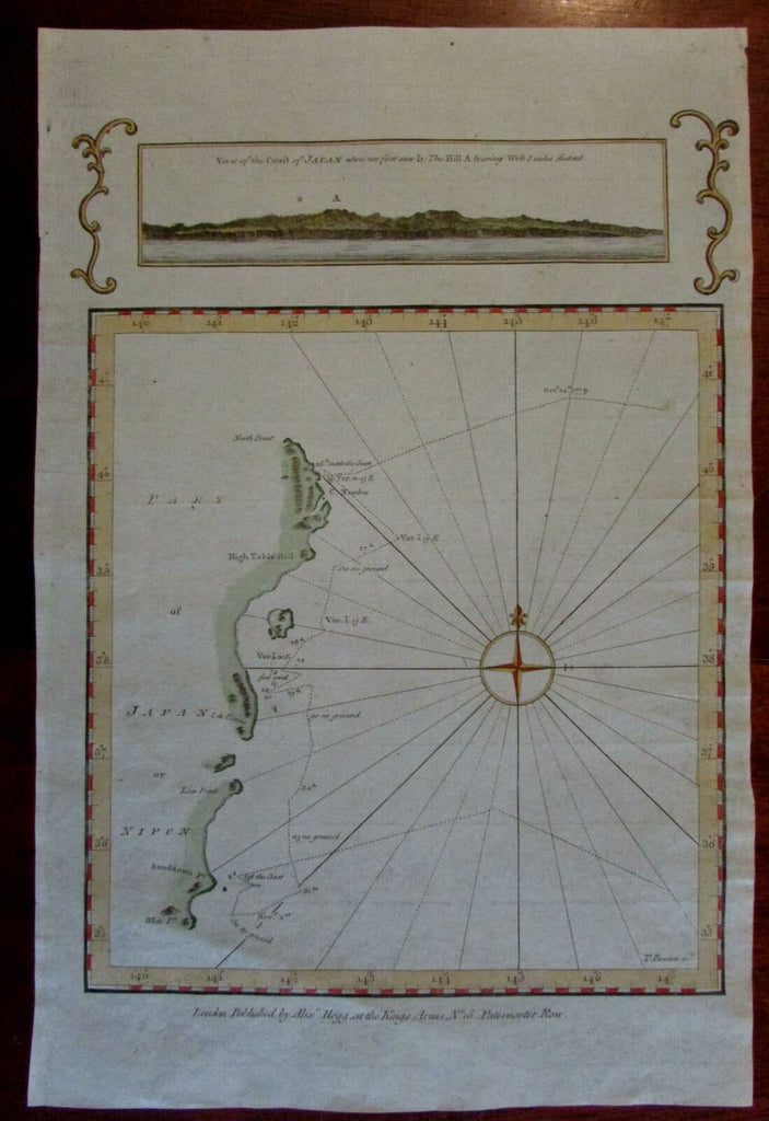 Japan Nippon c.1780 English early Coastal Survey engraved map & view hand color