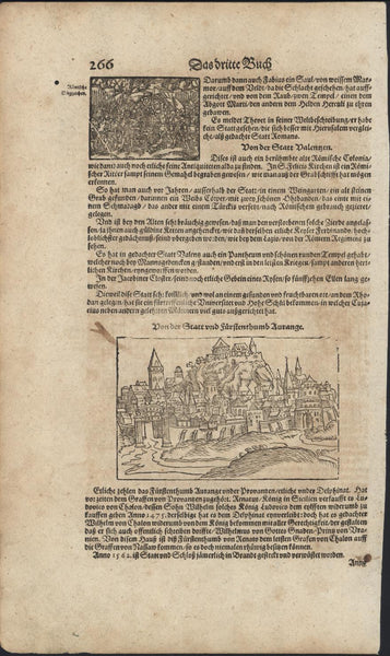 French City on a Hill Knights Fighting 1628 Munster original antique print