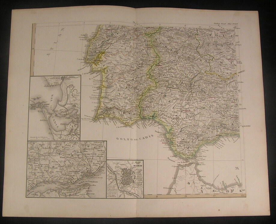 Southern Spain & Portugal Stieler Madrid plan Lisbon c.1860 antique color map