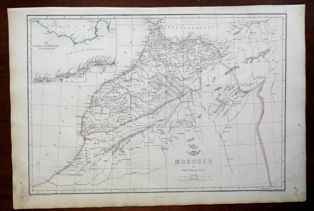 Morocco North Africa Strait of Gibraltar Atlas Mtns 1863 Weller engraved map