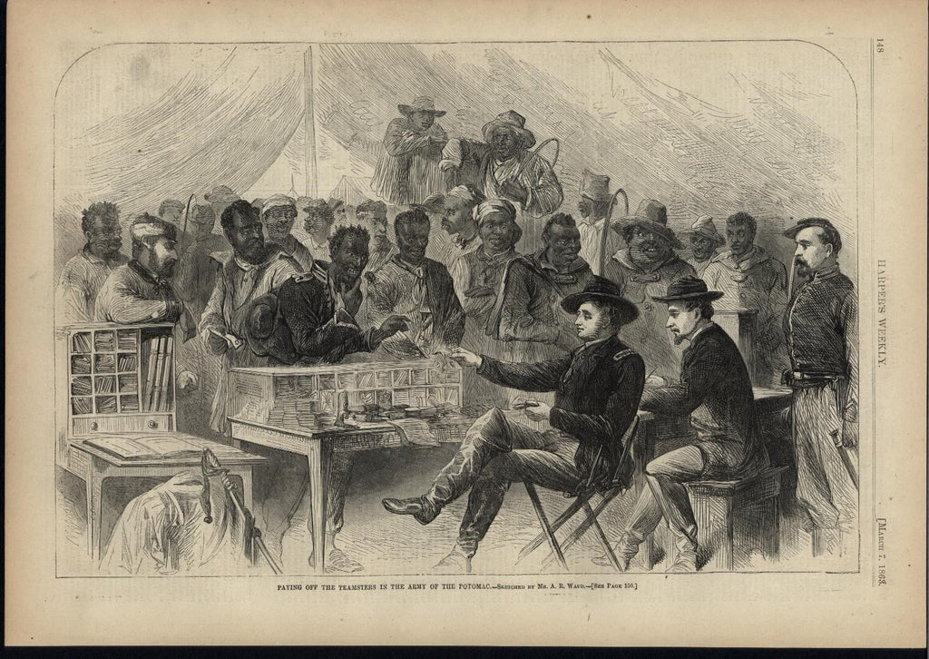 Paying Teamsters Army of Potomac 1863 antique Harpers Civil War print