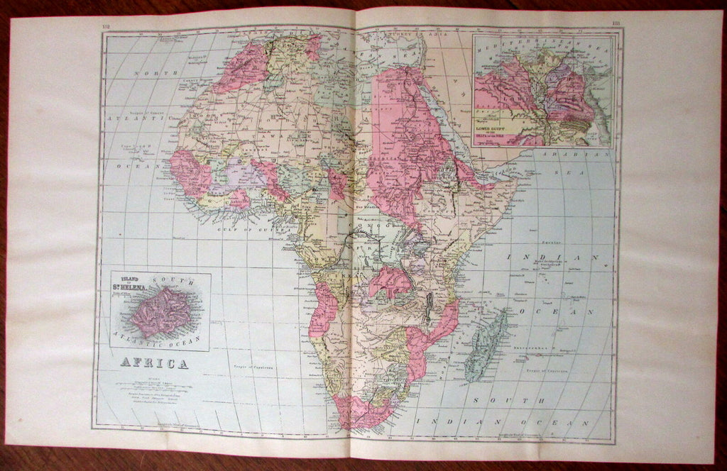 Africa very detailed interior 1894 large interesting antique map hand color