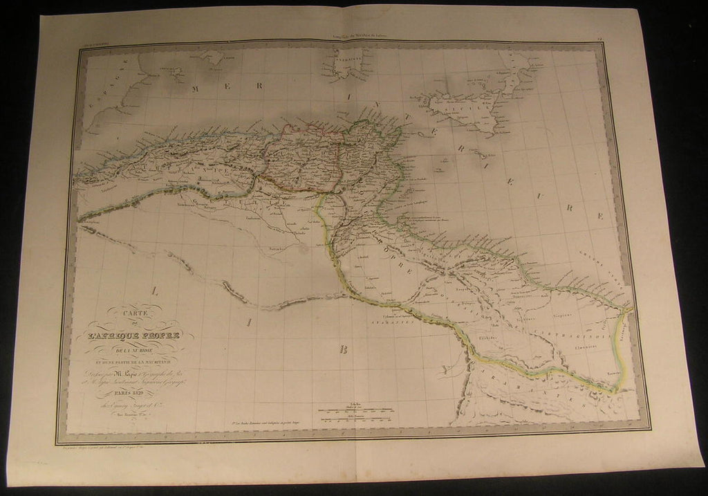 North Africa Numidia Gulf Carthage 1829 antique engraved outline hand color map