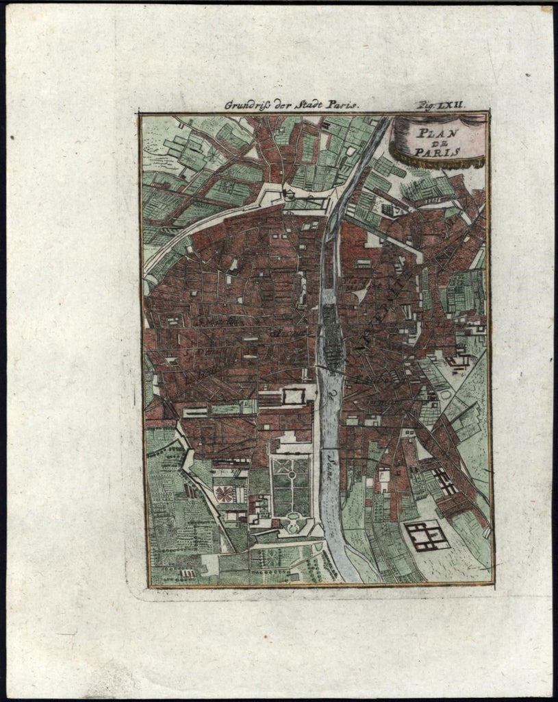 Paris France City Plan charming 1719 vintage antique Mallet city plan map