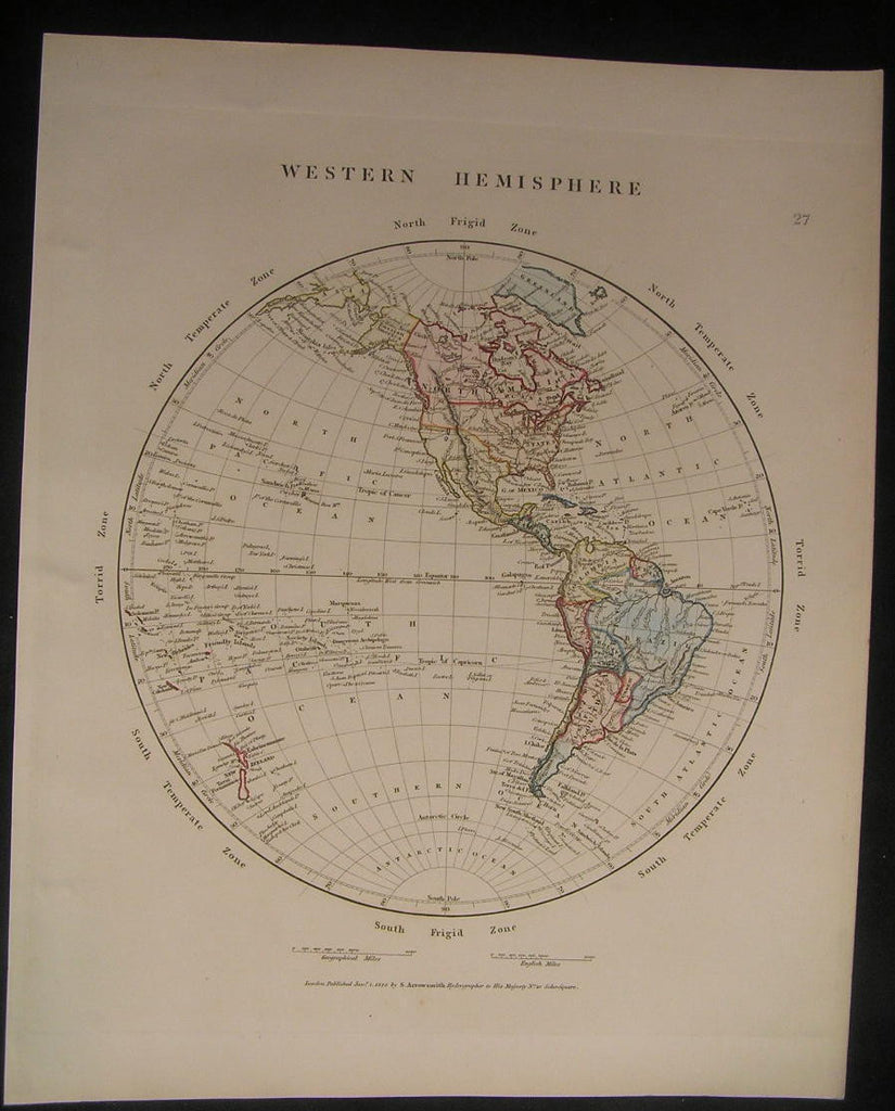 Western Hemisphere North America 1828 antique Arrowsmith hand color map