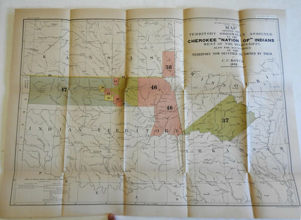 Cherokee Nation Oklahoma Indian Territory 1884 Powell Royce ethnographic map