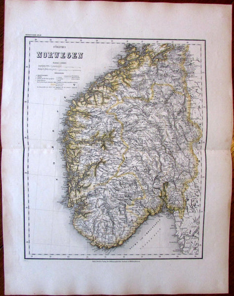 Southern Norway Scandinavia c.1860 old large detailed Meyer map