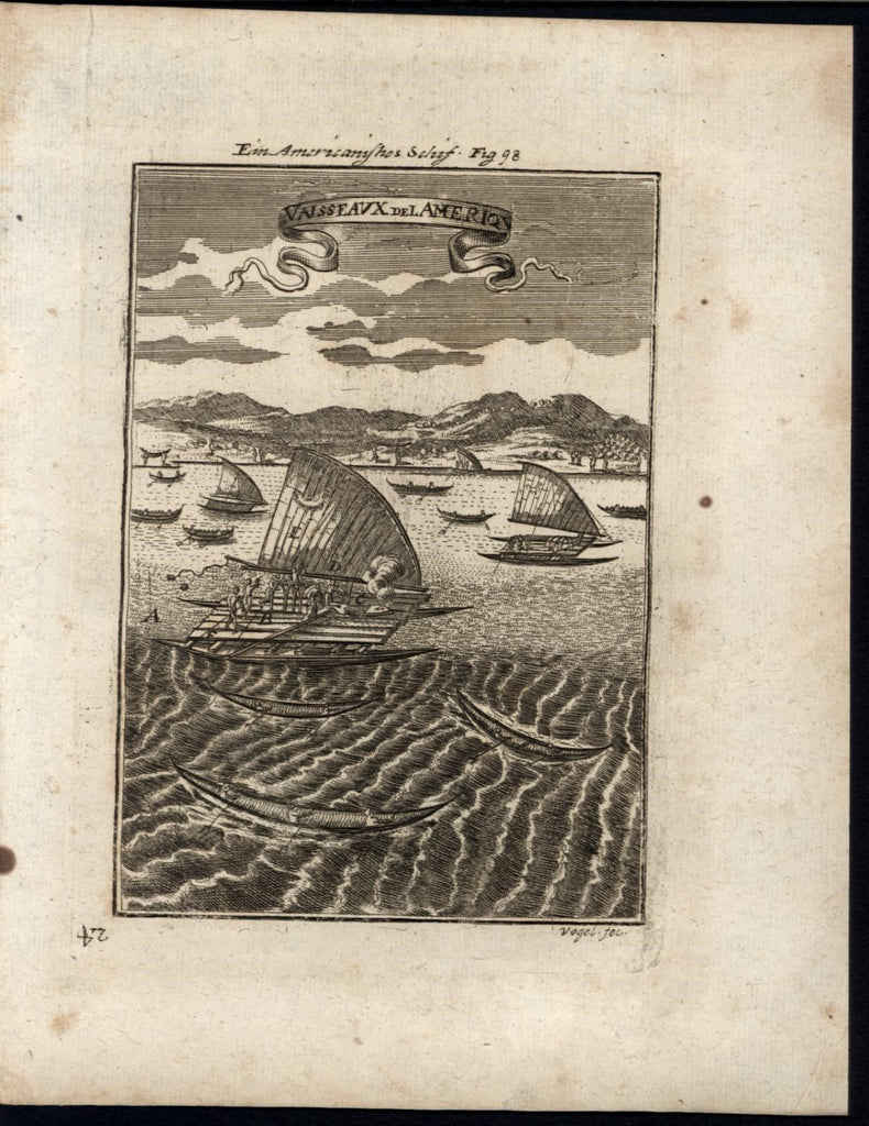 Native American Ships Exploration Ethnic Canoes 1719 antique Mallet World print