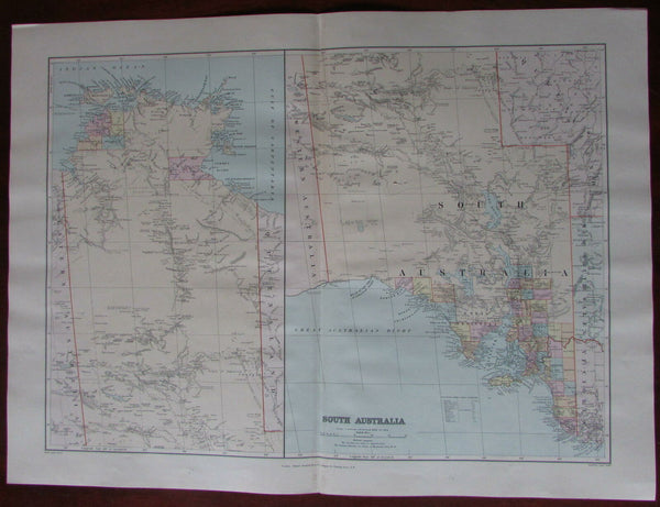 North and South Australia c.1896 Stanford huge rare detailed map