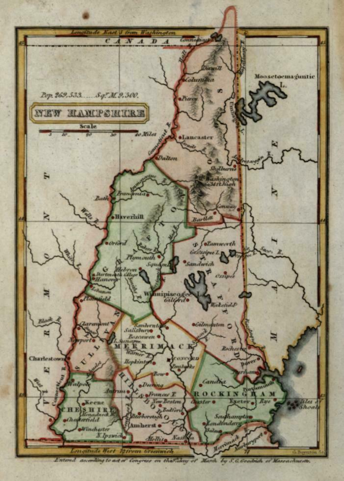 New Hampshire state by itself 1833 Boynton miniature map w/ beautiful hand color