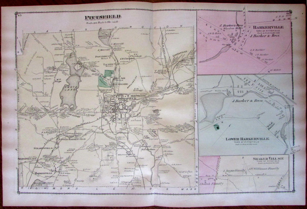 Pittsfield Berkshire Mass. Shaker Village plan 1876 detailed uncommon old map
