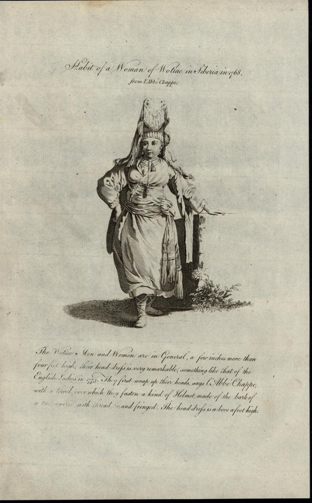 Wotiac Woman Siberia Large Headdress 1779 antique Ethnic Costume Dress print