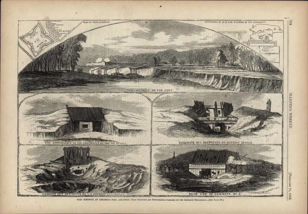 Fort Hindman Arkansas Post Arkansas 1863 antique Harpers Civil War print