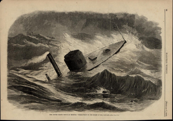 Ironclad Monitor Weehawken Caught in Storm nice 1863 great old print for display