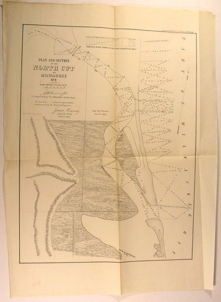 North Cut Harbor of Milwaukee Wisconsin 1854 antique U.S.G. state survey map