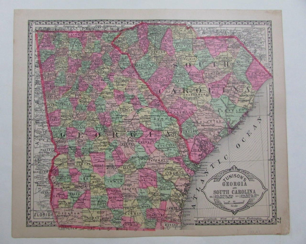 Georgia South Carolina 1888 decorative scarce old map hand colored Atlantic