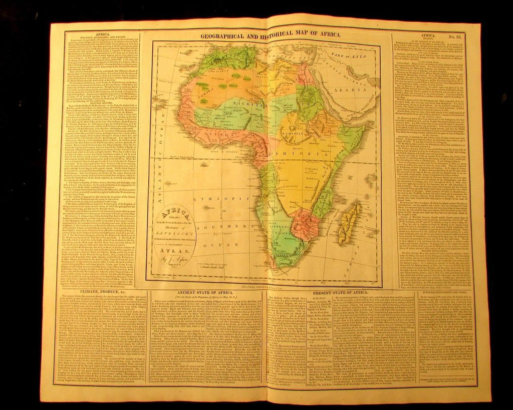 Africa Mts. of the Moon Aspin 1820 M. Carey large antique map old hand color
