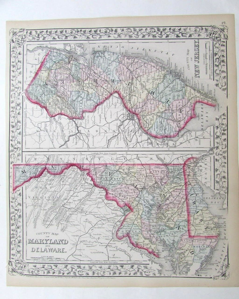 Delaware New Jersey 1872 Mitchell lovely antique map original hand color