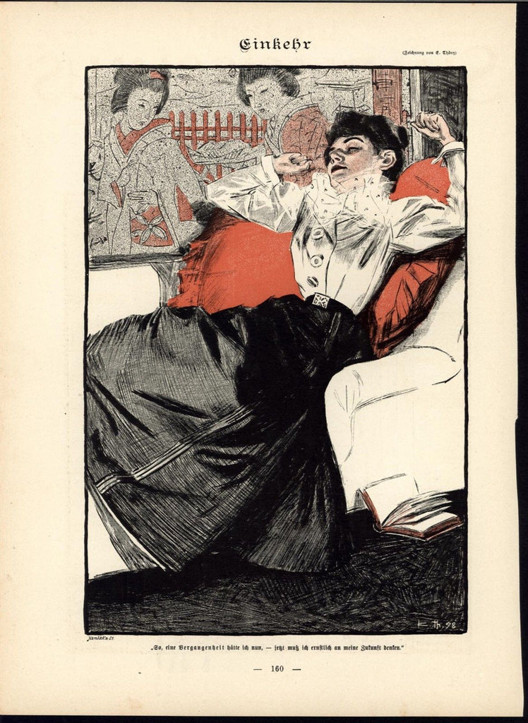 Beautiful Well Dressed Woman Relaxing Reading 1898 antique Art Nouveau print