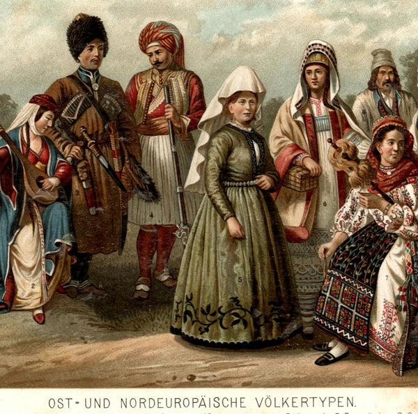 Russian Albanian Romanian Polish people dress costume ethnic c.1895 old print