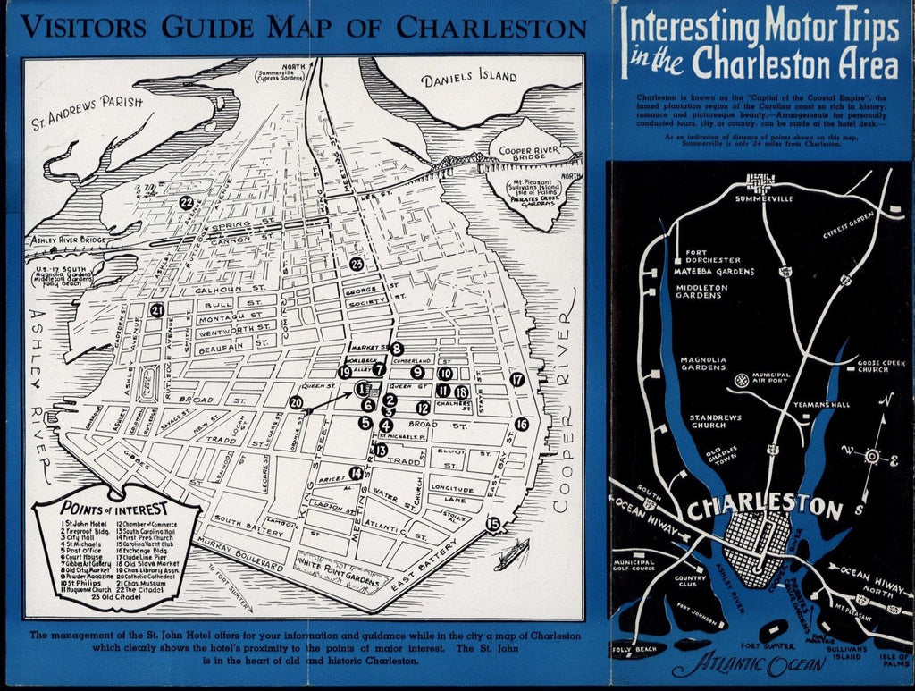 Charleston SC city plan c.1950 Decorative scarce old Hotel display map