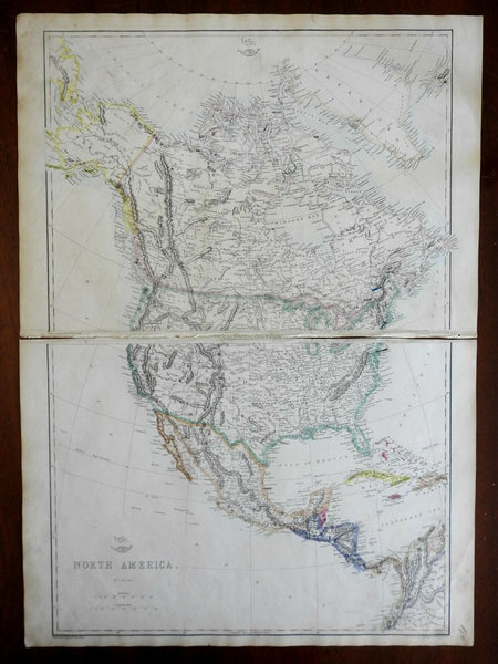 North America United States Caribbean Canada Mexico 1863 Lowry two sheet map