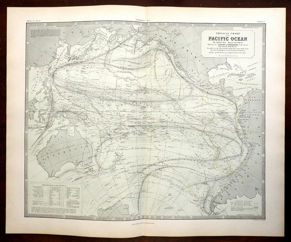 Pacific Ocean Australia New Zealand Polynesia Trade Routes 1856 Blackwood map