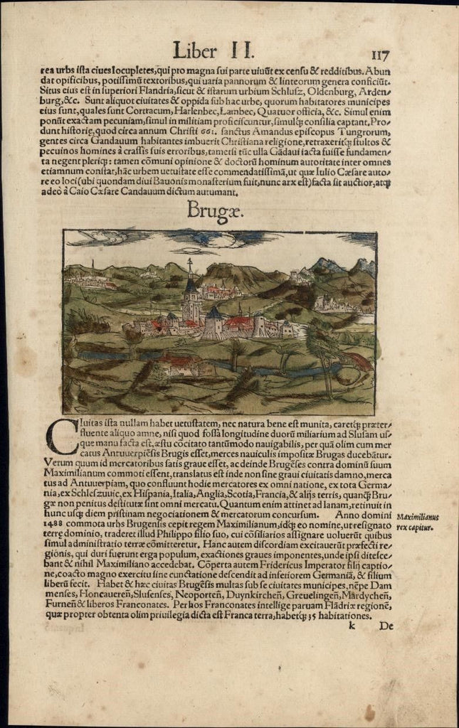 Brugges Belgium Flanders c.1552 Munster rare city view w/ orig. early hand color