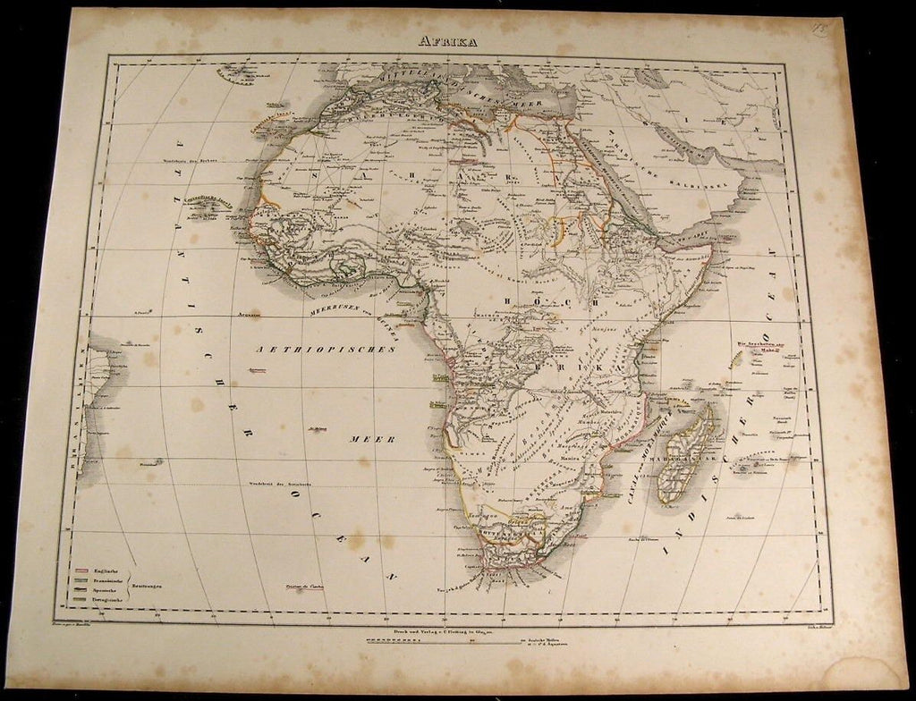 Africa showing Mountains of the Moon 1849 Flemming old antique map