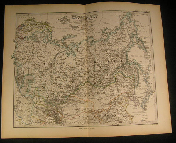 North & Central Asia Korea Siberia Japan Persia 1883 antique engraved color map