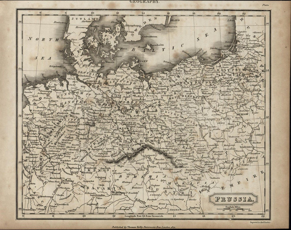 Prussia Germany Bavaria Bohemia Baltic Sea scarce 1817 antique engraved map