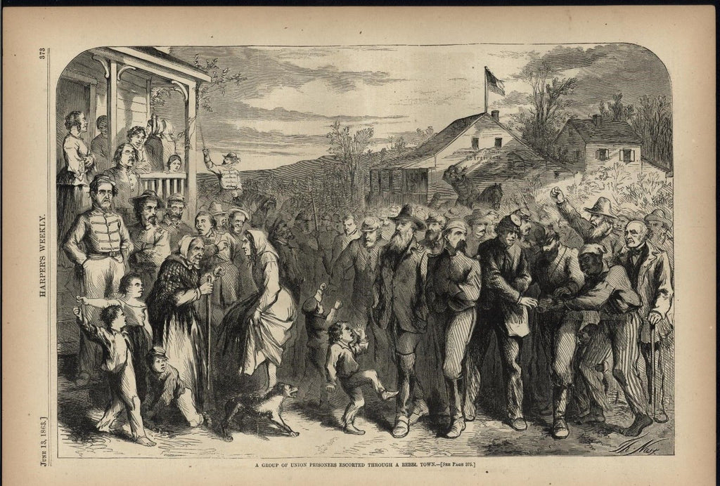 Union Prisoners Through Rebel Town 1863 antique Harpers Civil War print