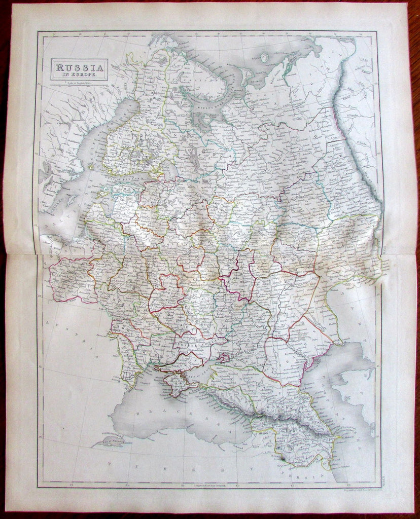 Russia in Europe Finland c.1870 Hall engraved folio sheet old map