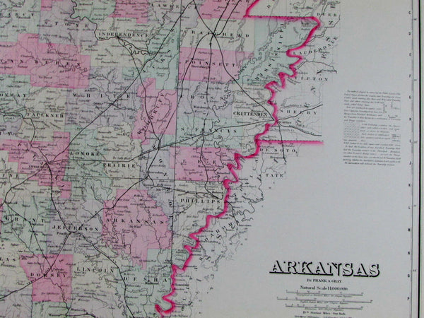 Arkansas state Little Rock Fort Smith railroads cities R.R. 1876 Gray old map