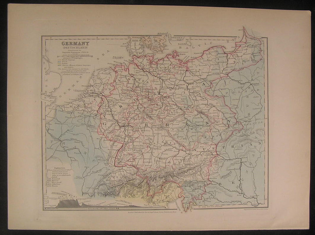 Germany w/ Mt. Heights ca.1850 by Dower nice old vintage antique map