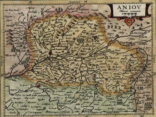 Anjou Aniou France beautiful antique c.1628 Mercator minor old map