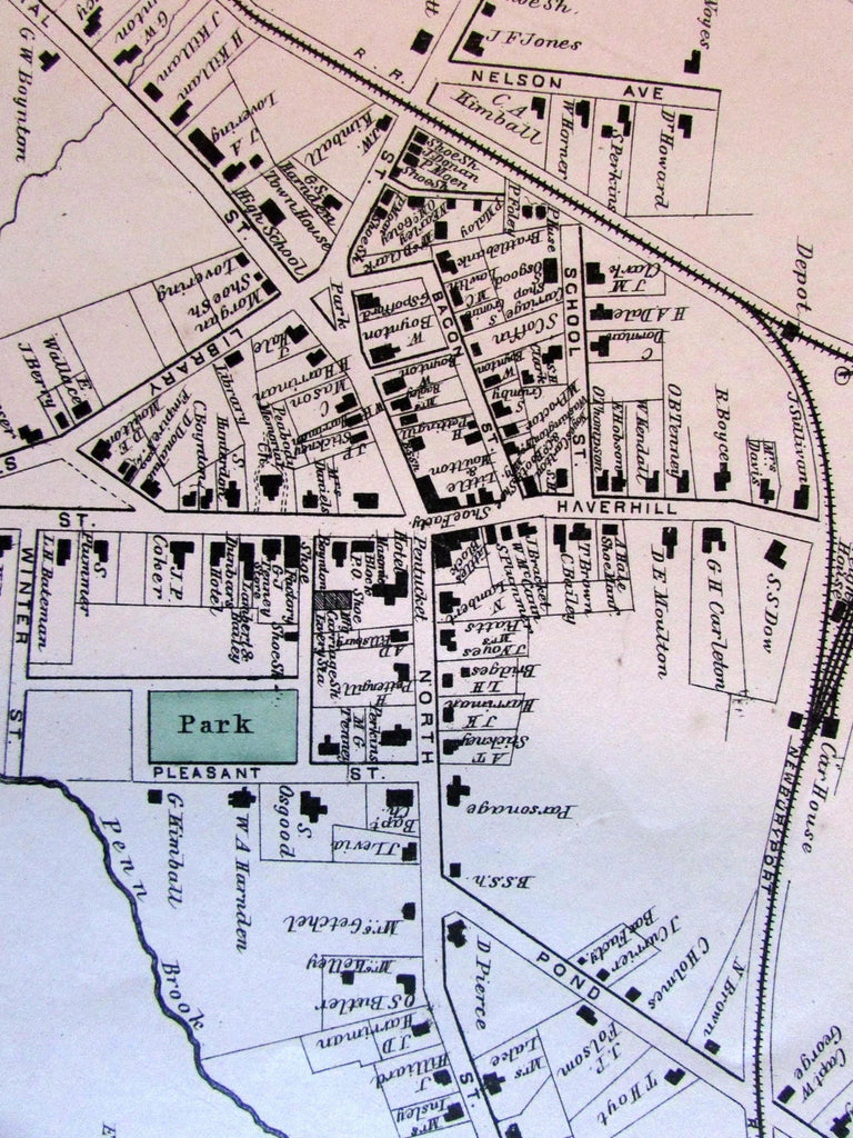 Georgetown city plan Essex County Mass. 1872 very detailed old map home owners