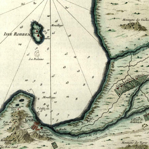 South Africa Table Bay Cape of Good Hope harbor 1748 Bellin nautical map