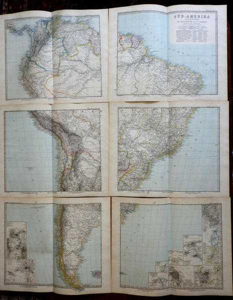 South America Lot of 7 maps wall size 1897 Stieler detailed map