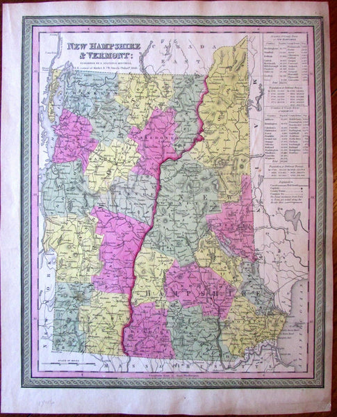 New Hampshire Vermont New England c.1846 Mitchell fine attractive old map