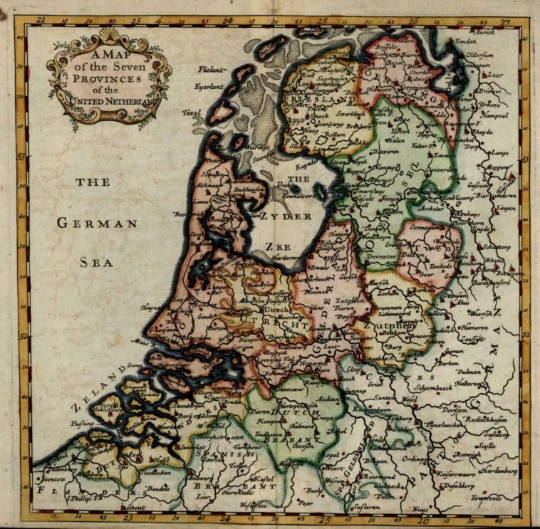 United Provinces Netherlands Holland Utrecht 1713 Moll miniature map hand color