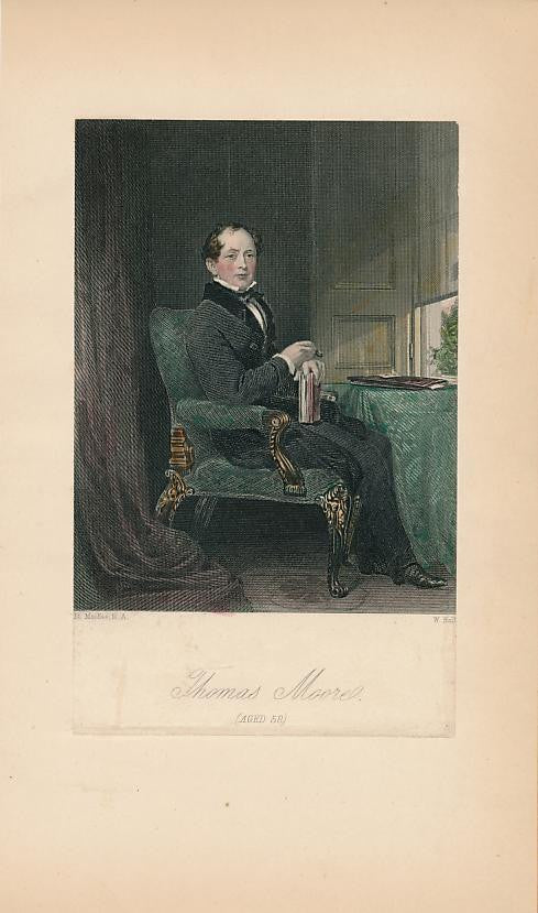 Thomas Moore aged 58 c. 1850s fine old hand colored portrait print