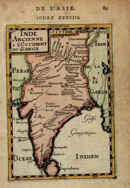 Ancient India Indus Ganges Rivers Sri Lanka 1683 Mallet engraved map