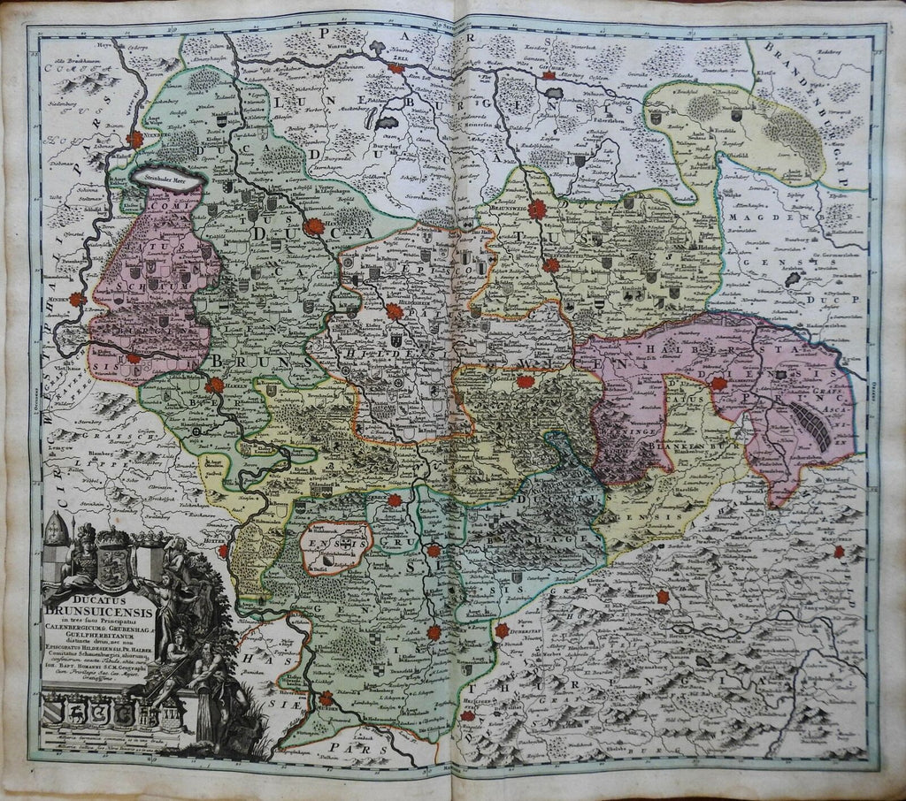 Germany Duchy Brunswick Gottingen Holy Roman Empire 1750 Homann decorative map