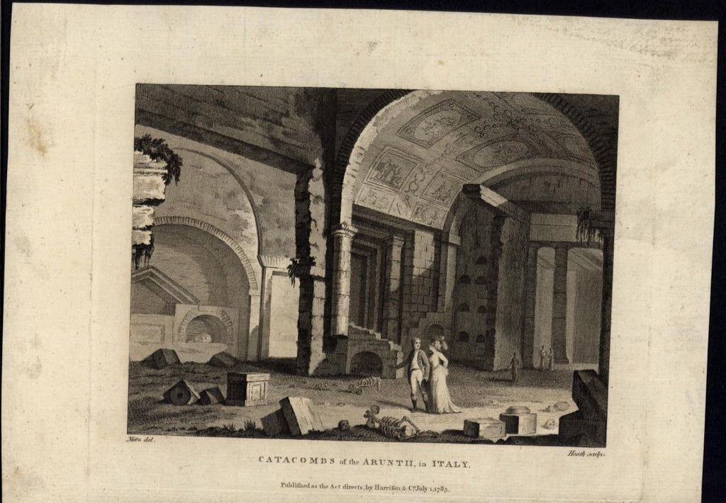 Catacombs of Aruntii Rome Beautiful Stone Carvings 1783 antique engraved print