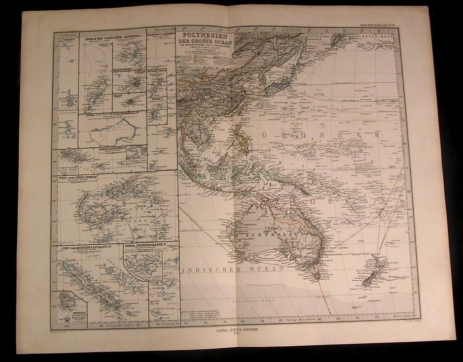 Polynesia Australia Pacific Ocean islands 1876 old engraved color Steiler map