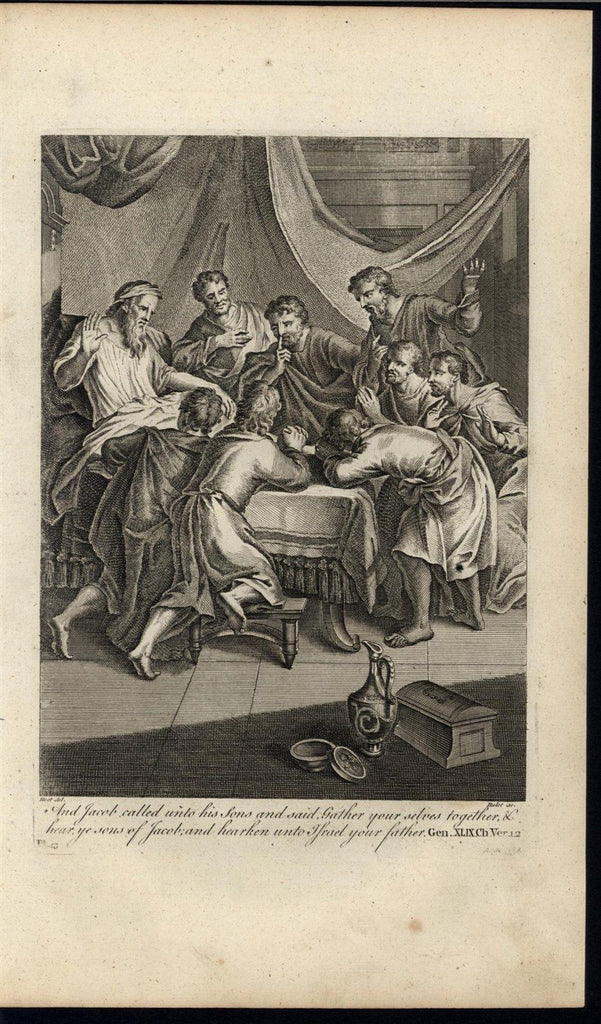 Jacob Summoning his Sons Israelites c.1750 antique copper engraved Bible print